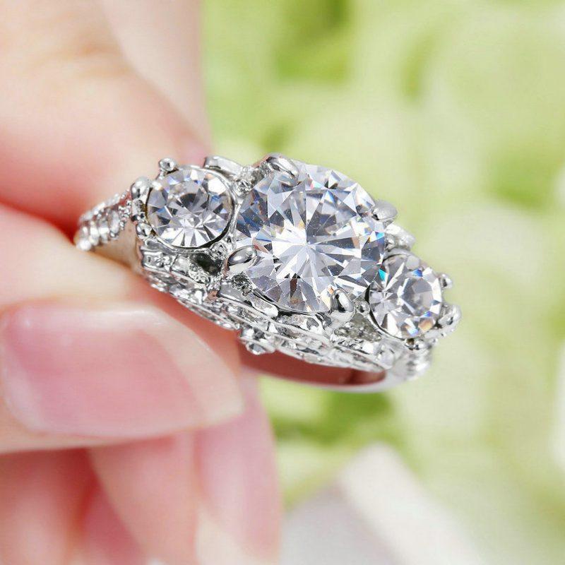 Antique 2.Ct Real White Moissanite 3 Stone Engagement Wedding Ring 14k White Gold