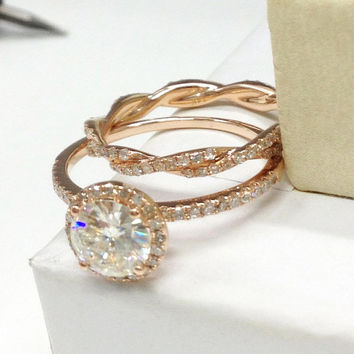 1.75Ct Excellent Cut White Moissanite Engagement Ring & Wedding Twisted Set In 14k Yellow Gold