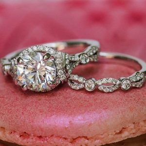Unique 2.18Ct Real Moissanite Diamond Solitaire Engagement Ring & Wedding Set In 14k White Gold