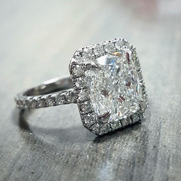 3Ct Radiant Bluish White Moissanite Halo Engagement Ring Set 925 Sterling Silver