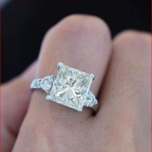 1.70Ct Princess Cut Real Moissanite With Side Diamond Engagement Ring 14k White Gold