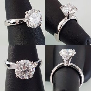 2.35Ct Real Round Cut Moissanite Solitaire Engagement Promise Ring 14k White Gold