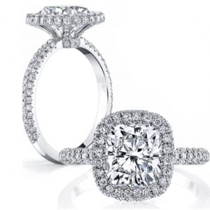 2.30Ct Cushion Cut Pave Diamond Halo Engagement Bridal Ring in 14k White Gold
