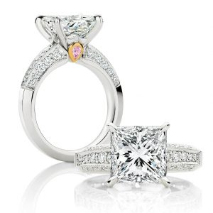 Certified 2.33Ct Princess Cut Diamond Solitaire Engagement Ring in 14k White Gold