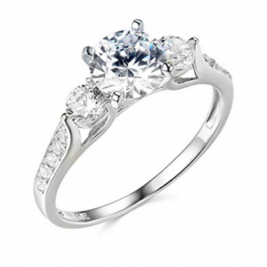 2.25 Ct Round Cut Diamond 3-Stone Engagement Wedding Ring Real Solid 14K White Gold