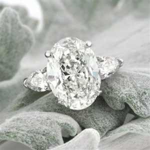 2.50Ct Oval Cut Diamond Side Pear Stone Engagement Ring In 14k Solid White Gold