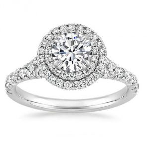 1.82Ct Double Halo Off White Diamond Bridal Engagement Ring 925 Sterling Silver