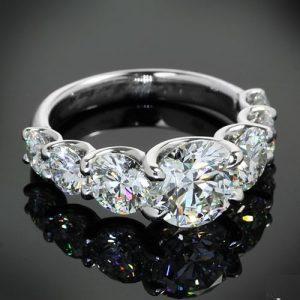 7 Stone 2.35Ct Round Cut Diamond U-Prong Engagement Anniversary Ring 925 Sterling Silver