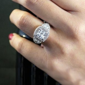 2 Carat Forever Cushion Cut Diamond Micro Pave Wedding Engagement Ring 925 Sterling Silver