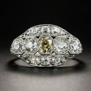 Canary Yellow Oval Diamond Side Round Stone Anniversary Ring Engagement 925 Sterling Silver