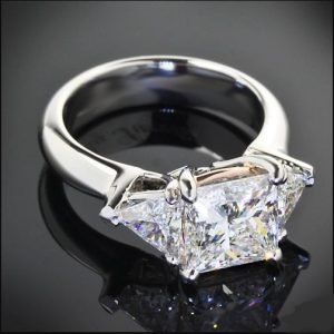 2.12Ct Princess Cut Moissanite Side Trillion Stone Engagement Ring 14k White Gold