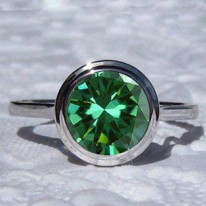 2 Ct Brilliant Green Bezel Diamond Engagement Wedding Ring 925 Sterling Silver