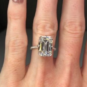 3.34Ct Emerald Cut White Diamond Solitaire Engagement Ring Solid 14k White Gold