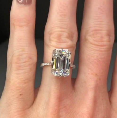 3 34ct Emerald Cut White Diamond Solitaire Engagement Ring Solid 14k White Gold Diamondloops