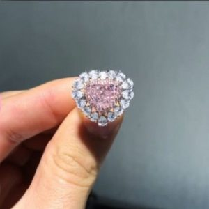 2.70Ct Heart Shape Pink Diamond Party Engagement Ring Solid 14k White Gold