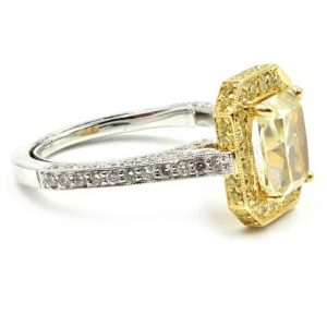 2.90Ct Canary Yellow Radiant Cut Diamond Fancy Engagement Ring Solid 14k White Gold