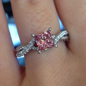 Unique 2.55Ct Princess Cut Pink Diamond Luxury Engagement Ring Solid 14k White Gold