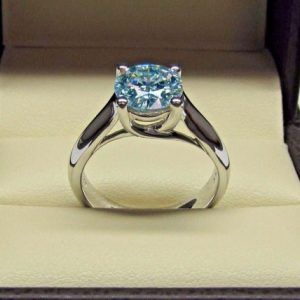 Unique Round 2.50Ct Blue Diamond Classic Engagement Ring Real 14k White Gold Over