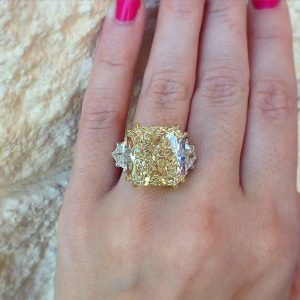 3.15Ct Cushion Cut Canary Yellow Diamond Engagement Ring 14k White Gold Over