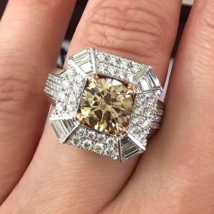 Unique 2.70Ct Round Yellow Color Diamond Wedding Engagement Ring Solid 14k White Gold
