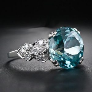 Huge 3.40Ct Round Cut Blue Diamond Best Engagement Ring Solid 14k White Gold