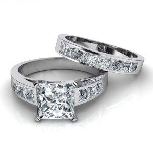 2.40Ct Princess Cut White Diamond Bridal Set Engagement Ring Solid 14k White Gold