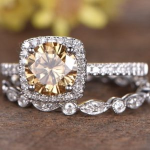2.58Ct Round Cut Canary Yellow Diamond Bridal Set Engagement Ring Solid 14k White Gold
