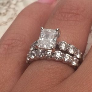3.40Ct Radiant Cut White Diamond Engagement Ring Wedding Set 14k White Gold
