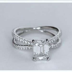 2.30Ct Emerald Cut White Diamond Criss Cross Engagement Ring 14k White Gold