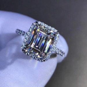 2.38Ct Emerald Cut White Diamond Solitaire Halo Engagement Ring 14k White Gold