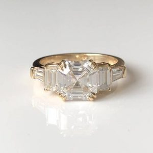 Fancy 2.88Ct Asscher Cut White Diamond Side Stone Best Engagement Ring 14k Yellow Gold