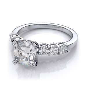 3.00Ct Excellent Cushion Cut Diamond Side Round Stone Engagement Ring 14k White Gold Finish