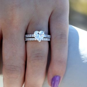 2.55Ct Heart Shape VVS1 Diamond With Assent Engagement Ring Set 14k White Gold Over