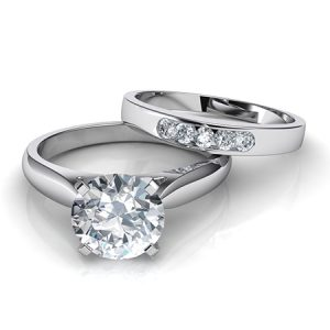 4.00Ct Forever Round Cut Diamond Engagement Ring With Matching Band Real 14k White Gold