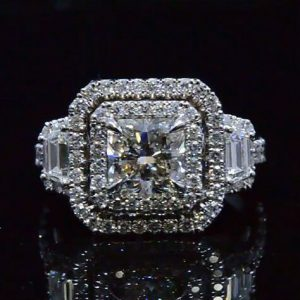 2.48Ct Radiant Cut VVS1 Diamond Double Halo Best Wedding Ring Real 14k White Gold