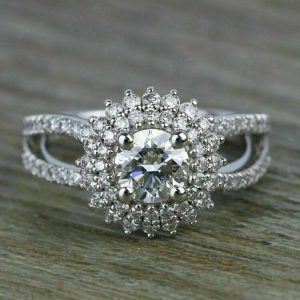 1.25 Ct Real Round Cut Moissanite Antique Halo Engagement Ring 14k Gold Plated