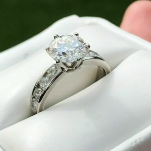 2.21 Ctw Round Moissanite With Channel Set Engagement Ring Solid 14k White Gold
