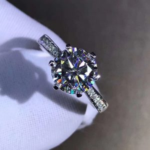 1.86 Ct Solitaire Round Moissanite Ring Solid 14k White Gold In Engagement Ring
