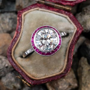2.58 Ctw Bezel Round Moissanite Ring Vintage Art Deco Halo Engagement Ring 14K White Gold
