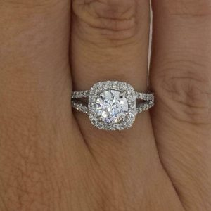 2.46 Ctw Round Moissanite Halo 2 Shank Engagement Ring 14k Gold Plated
