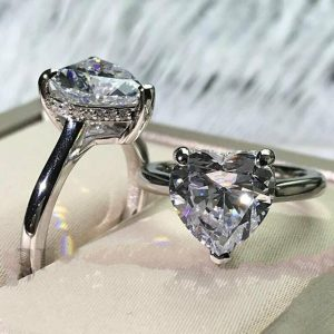 3.30 Ct Hear Shape Brilliant Diamond Luxurious Engagement Ring 14k White Gold