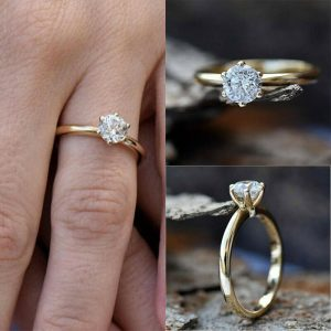 1.30 Carat Forever One Moissanite Solitaire Engagement Ring 14k Yellow Gold Over