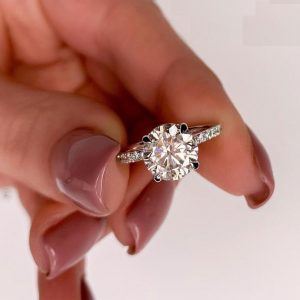 2.50 Ctw Solitaire Round Cut Moissanite Hidden Halo Engagement Ring Real 14k White Gold