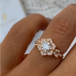 1.88 Ctw Round Moissanite Ring Solid 14k Rose Gold In Antique Engagement Ring