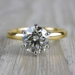 Luxurious 2.00CT Brilliant Cut Moissanite Solitaire 2 Stone Engagement Ring 14k Yellow Gold