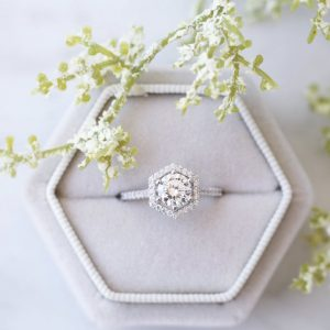 1.50 Carat Brilliant Cut Real Moissanite Gift Ring Engagement Ring 14k White Gold Plated