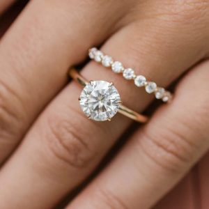 3.00 Ctw Round Cut Solitaire Moissanite Luxury Engagement Ring & Band 14k Rose Gold