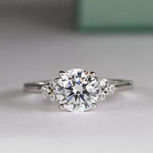 2.00 Carat Round Moissanite Side Stone Fancy Engagement Ring 925 Sterling Silver