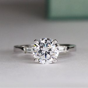 2.70 Ctw Excellent Cut Round Moissanite Baguette Accents Engagement Ring Solid 14k White Gold