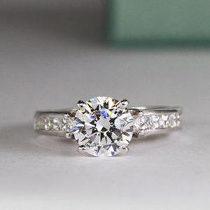 1.55 CT Near White Round Moissanite & Princess Channel Set Engagement Ring 14k White Gold Over